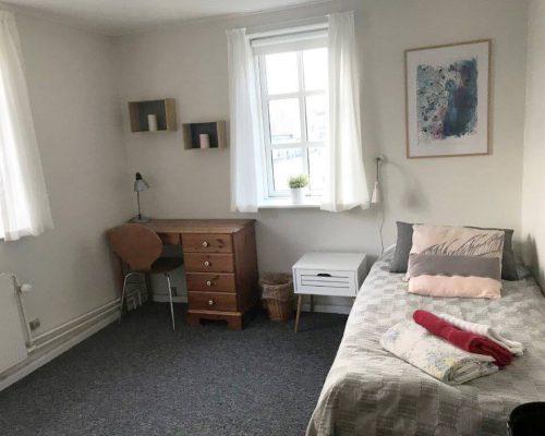 Værelse med en seng og et skrivebord